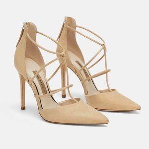 ZARA Nude Strappy Heels Size 8